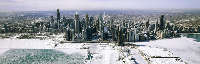 Aerial photo of Chicago skyline, everything is frozen in ice