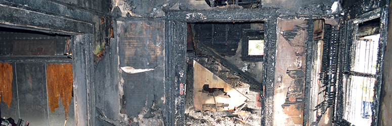 Interior of a building after a fire
