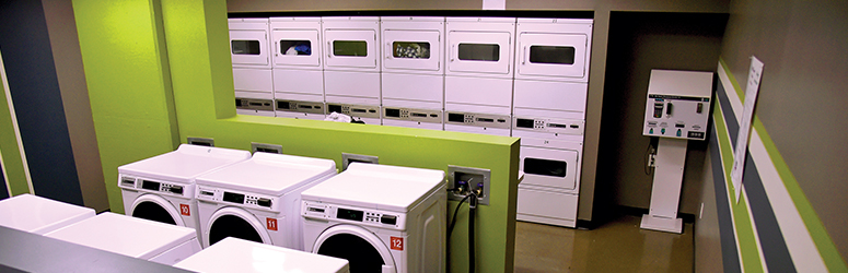 Interior of a laundromat