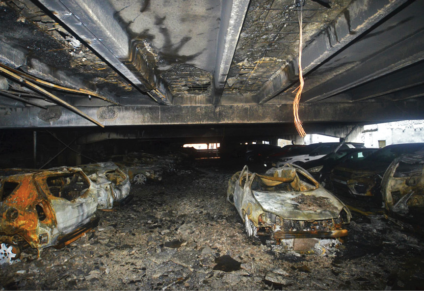 Interior of the King's Dock parking lot after the fire.