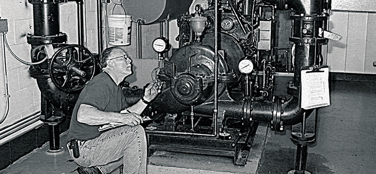 Engineer inspects a fire pump