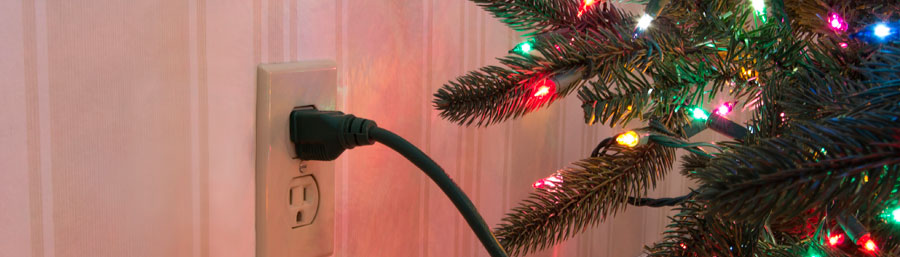 Christmas Tree with lights plugged in