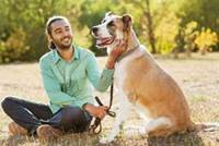 Young man with his dog