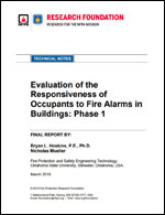 Featured item Evaluation of the Responsiveness of Occupants to Fire Alarms in Buildings: Phase 1