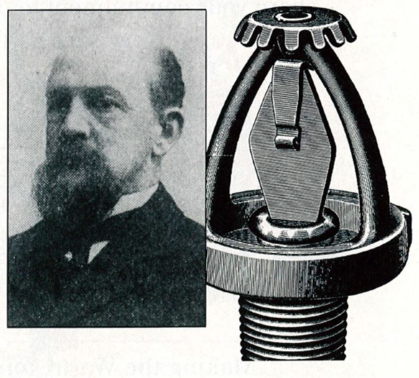 Frederick Grinnell and his glass disk sprinkler head