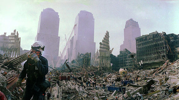 A Ground Zero worker surveys the damage at the World Trade Center site.