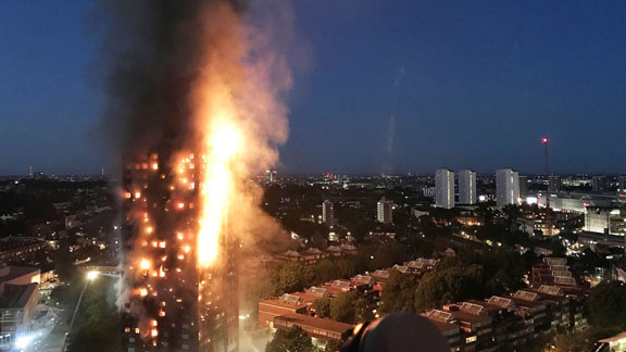 The Grenfell Tower fire in London