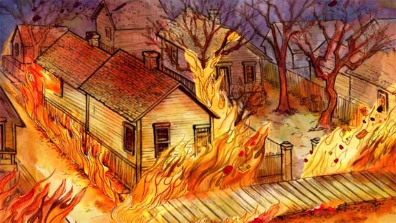 A home burns during the Great Chicago Fire