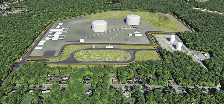 Rendering of LNG facility proposed in Acushnet, Massachusetts.