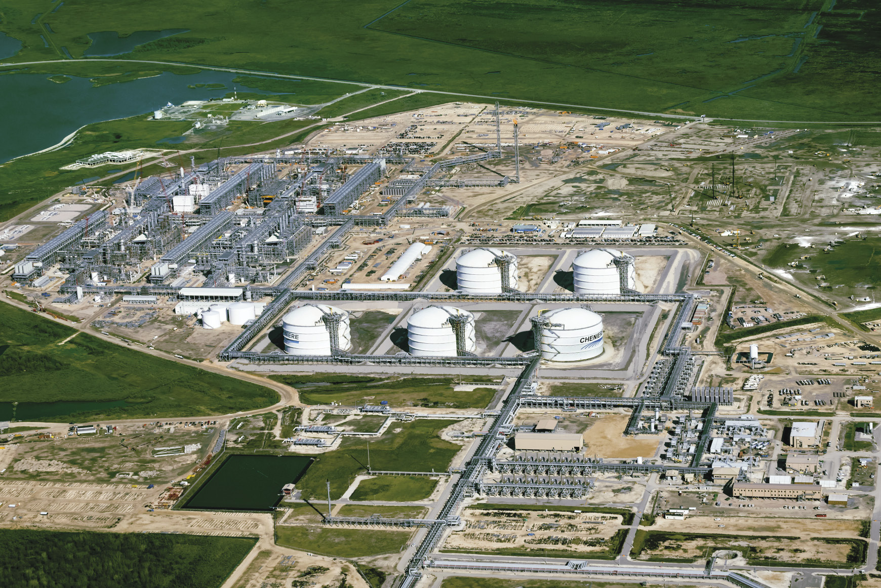 Arial view of the Sabine Pass Terminal in Lousiana