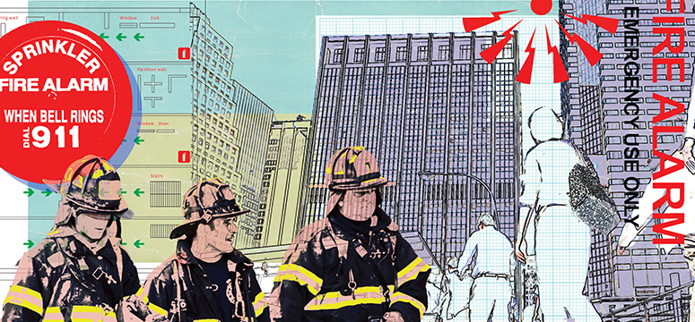 Illustration for unwanted alarm article including fire alarms, firefighters and high-rise buildings