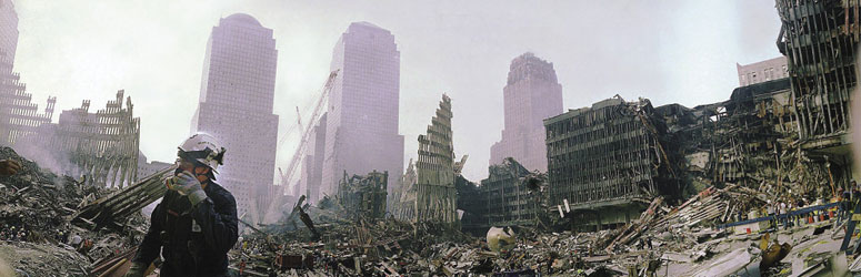 Man with gas mask in the ruins of the World Trade Center