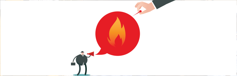 Illustration of hand popping the speech bubble of someone talking about fire.