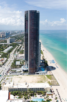 Exterior shot of the 60-story Porsche Design Tower in Miami.
