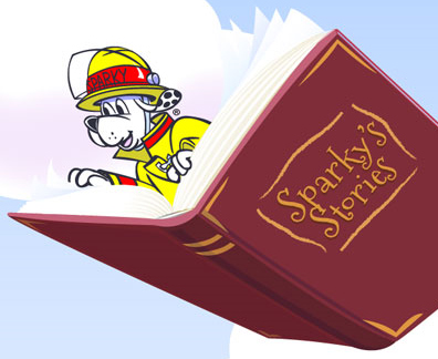 Sparky with a book